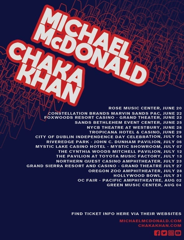 Michael McDonald & Chaka Khan Tour Dates 2019